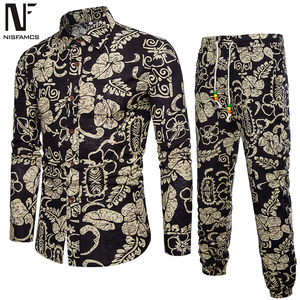 Sale Price Handsome Boys Floral Suits Holiday Casual Set Long Sleeve Clothes Men Pants Vintage Printed Dinner Party Suit New Fashion 2019 — wickedsick