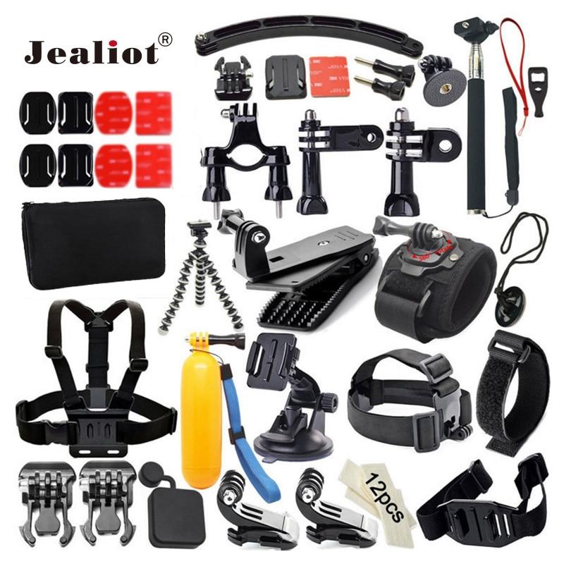 Ensemble d'accessoires jealiot pour harnais de casque Gopro sangle de fixation de la tête de ceinture de poitrine pour Hero 5 5 S 4 xiaomiyi Eken H9R SJGS02 SJ4000
