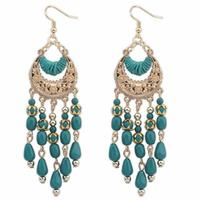 Poem snow Crescent metal hollow tassels Earrings