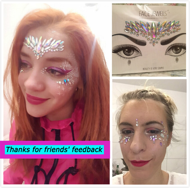 1 Sheet Handpicked Bohemia Tribal Style 3D Crystal Sticker Face And Eye Jewels Forehead Stage Decor Temporary Tattoo Sticker 5