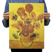 Ван Гог Подсолнух винтажная крафт-бумага классический фильм плакат школьный Декор гаража Настенный декор искусство Ретро Школьные принты
