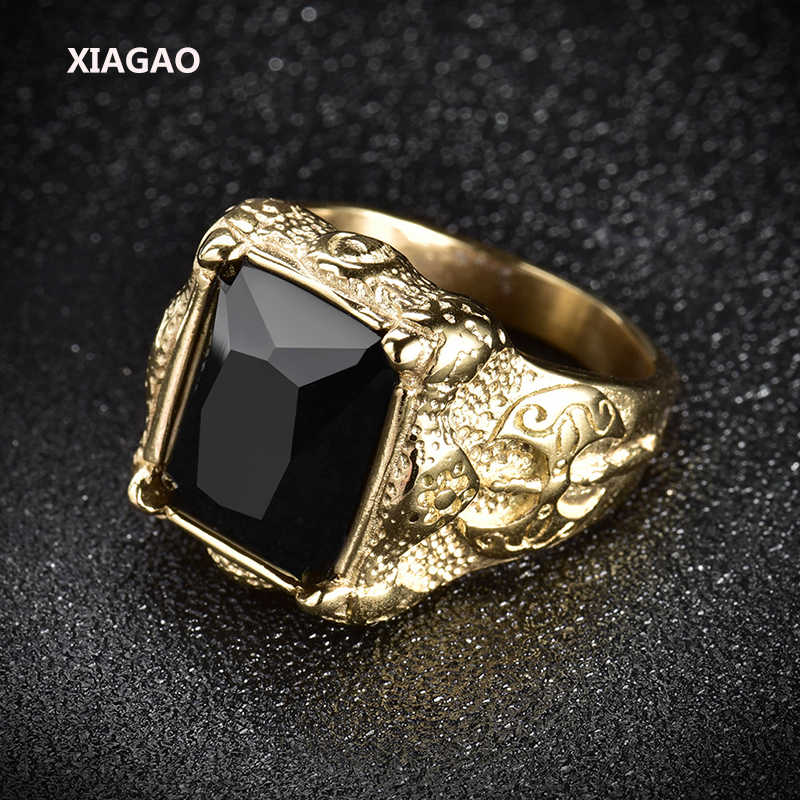 XIAGAOแหวนสำหรับผู้ชาย2สีสีดำตารางหินไทเทเนียมสแตนเลสผู้ชายแหวนแฟชั่นชายของข้ามแหวนสำหรับเด็กXGBR163