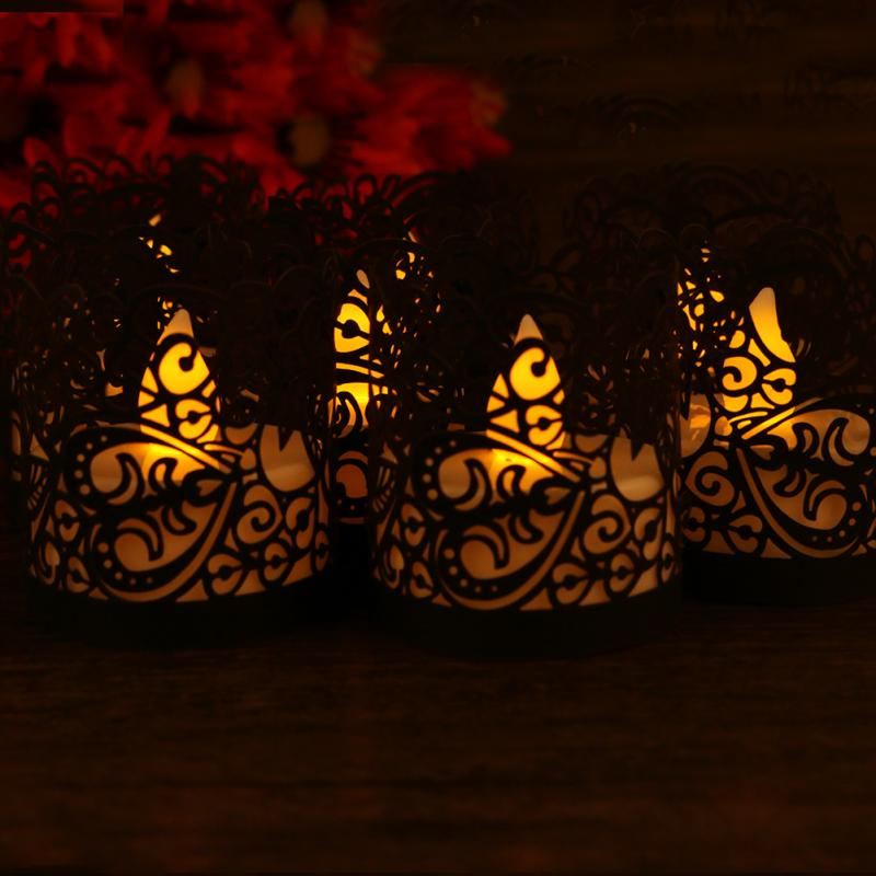 Flameless Tea Light Votive Wraps LED Candle Lights Around Decorative Wraps for Yard Flickering Battery Tealight Candles