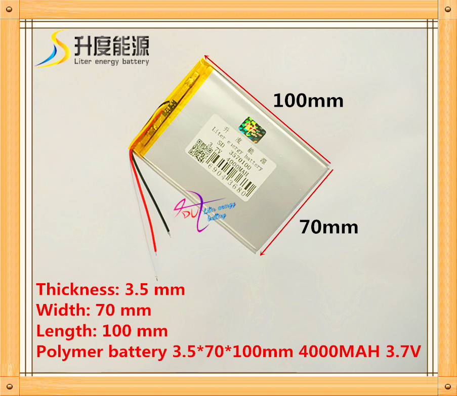 Free Shipping 3 wire Tablet pc 3570100 3.7V 4000mAH (polymer lithium ion battery) Li-ion battery for tablet pc