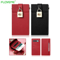 FLOVEME 5.5 Universal Phone Bag Case For iPhone 6 6S 7 Plus 5S SE For Samsung Xiaomi Huawei Women Crossbody Bags Leather Wallet