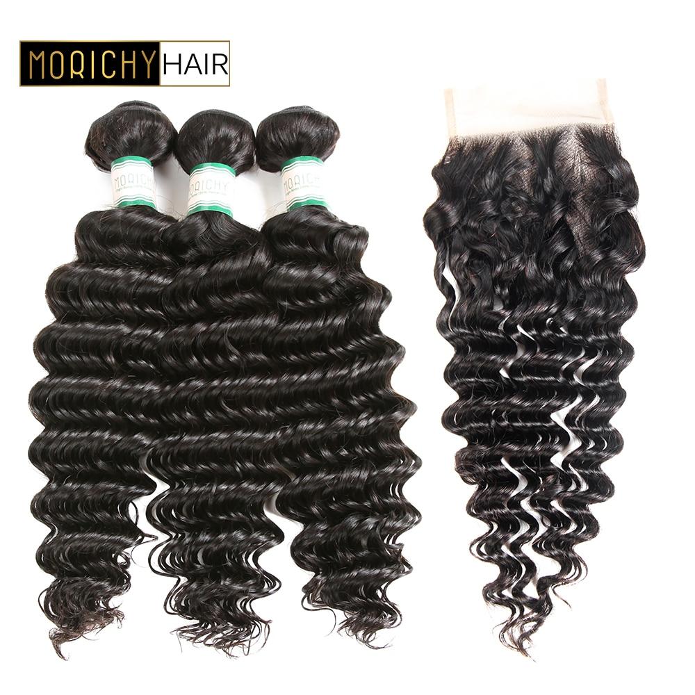 MORICHY Deep Wave 3 Bundles With Closure Brazilian Hair Weave Bundles With Closure Remy Human Hair Extension 4*4 Free Part