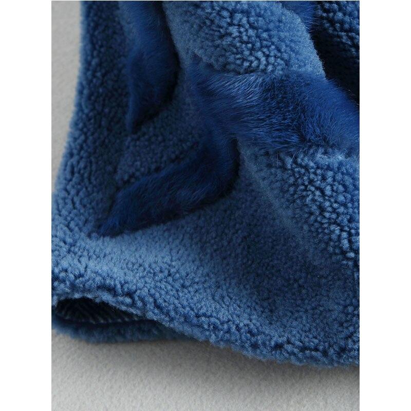 Vêtements De Manteau Blue Long 100 Zt920 2018 Femme Vintage Coréenne Manteaux Fourrure Veste Slim Automne Laine Femmes Réel Hiver q5nStY