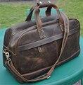 NEWEEKEND Retro Genuine Leather Cowhide Crazy Horse Anti-Scratch Travel Zipper Crossbody Luggage Bag Handbag for Man 9652
