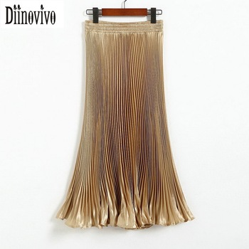 Hot sale Summer Autumn Women Elegant Pleated Skirt Elastic High Waist Casual Beach long Skirts Party Club Lady Saia Feminina D02 holographic belt purse