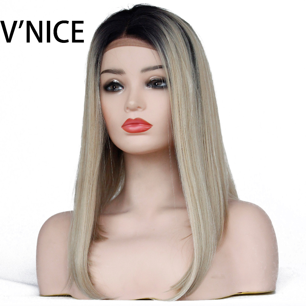 VNICE Ombre Honey Blonde Short Straight Synthetic Lace Front Wigs Fashion Short Bob Wigs for Black Women 1b/27 Mixed With 613#