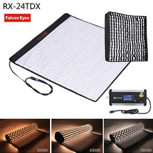 FalconEyes RX-24TDX Square Rollable Cloth LED Fill-in Light Lamp Studio Video Lighting Panel 150W Bi-Color 3000K-5600K Softbox falconeyes 100w rx 18td photography light portable video studio lighting bi color 3000k 5600k roll flex led photo light with bag
