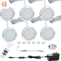 6pc/set LED Puck Light 12V 2.5W LED Under Cabinet Light Wireless Control LED Counter Light LED Cabinet light With On/off Switch