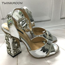 Rhinestone Chunky heels Sandals Women Jeweled High Heels Pumps Buckle Gold Silver Mirror Party Shoes Women zapatos de mujer(China)