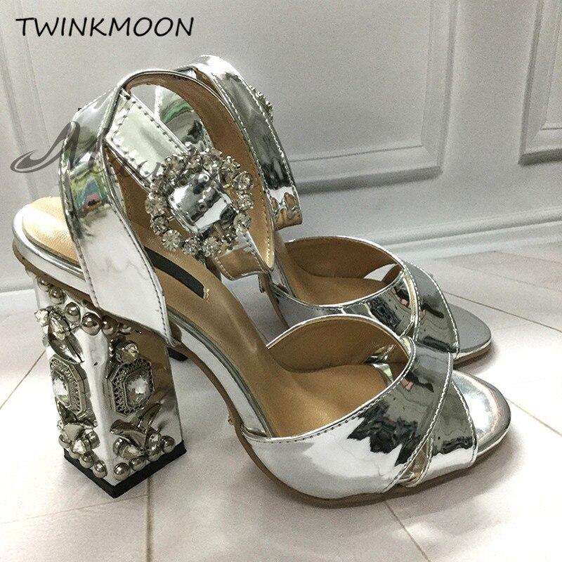 Strass Chunky talons sandales femmes bijoux talons hauts pompes boucle or argent miroir fête chaussures femmes zapatos de mujer