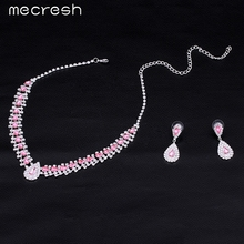 Mecresh 4 Colors Crystal Bridal Jewelry Sets Choker Necklace Earrings Teardrop African Beads Jewelry Set Wedding Jewelry TL001