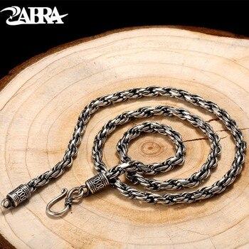 112aeeabbe72 ZABRA Real 925 Cadena de eslabones de plata de ley 6mm 45-60 cm ...