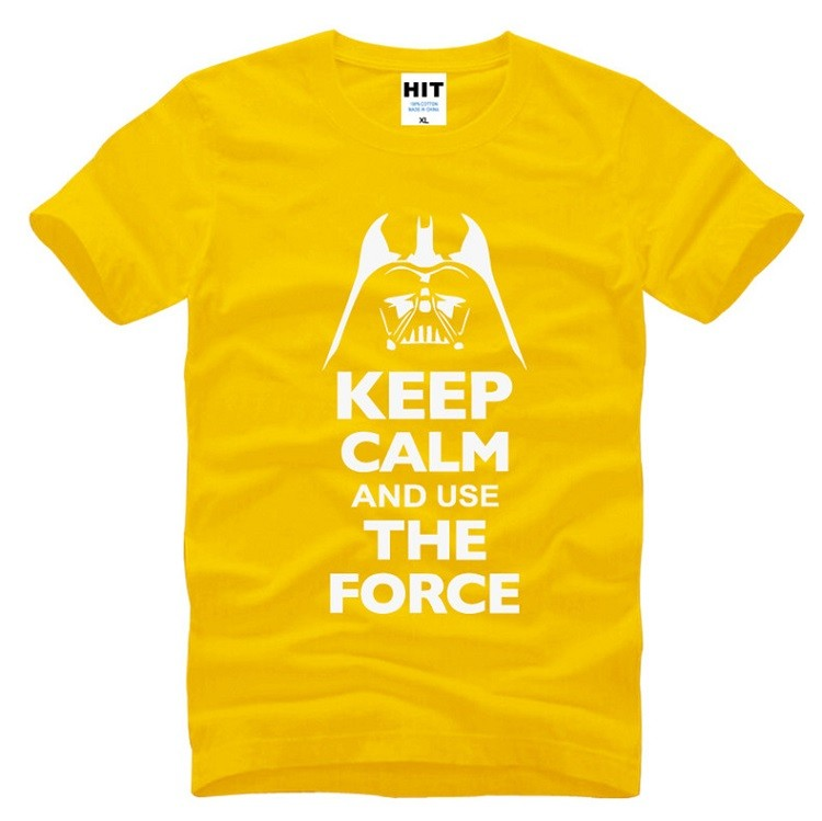 yellow color of the tshirt keep calm and use the force for starwars