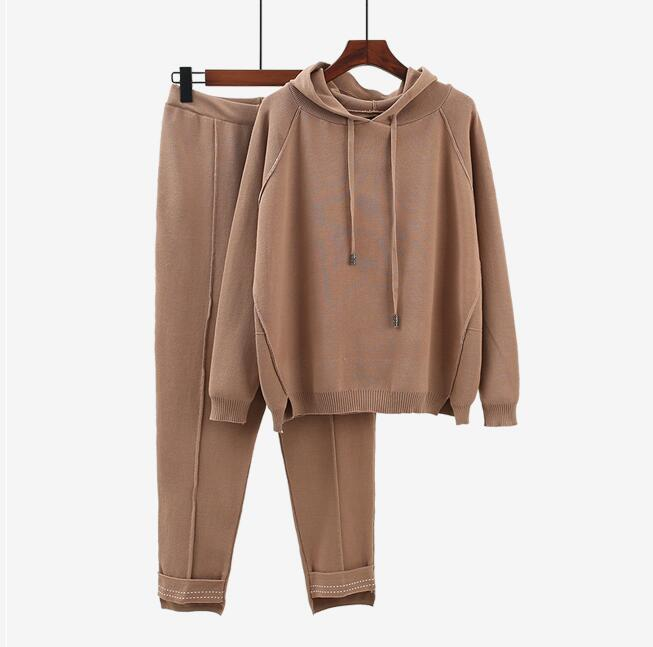 2019 Autumn Brand New Fashion 2 Piece Set Women Sporting Suits Knitting Pullover + Pants Sporting Wear Female Tracksuit
