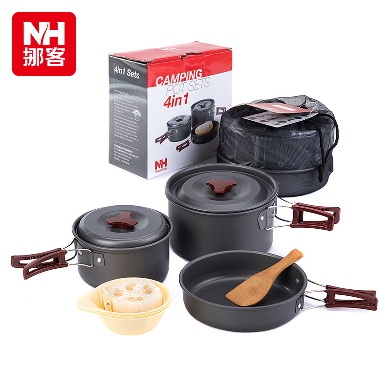 ФОТО Naturehike New 2-3 Person Picnic Pot Outdoor Camping Cookware Portable Pot Sets Only 0.68kg NH15T203-G
