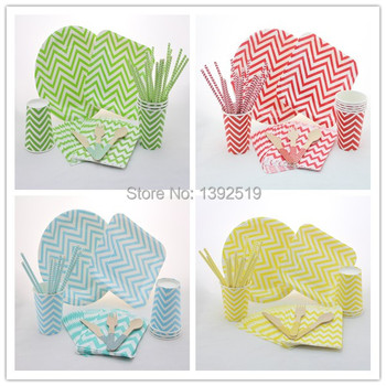356pcs Party Tableware Set -- 50 People Used  Chevron  BirthDay Wedding Christmas Party Tableware Paper Plate Cup Straw Napkin