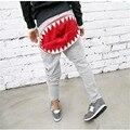 Nueva Versión Coreana Casuales Muchachas de Los Bebés Ropa del Niño Pantalones de la Cremallera de La Boca del Tiburón Dientes PP Algodón Haren Pantalones de Hip-Hop calle