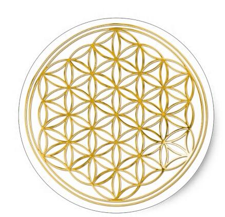 1.5inch FLOWER OF LIFE - gold Classic Round Sticker