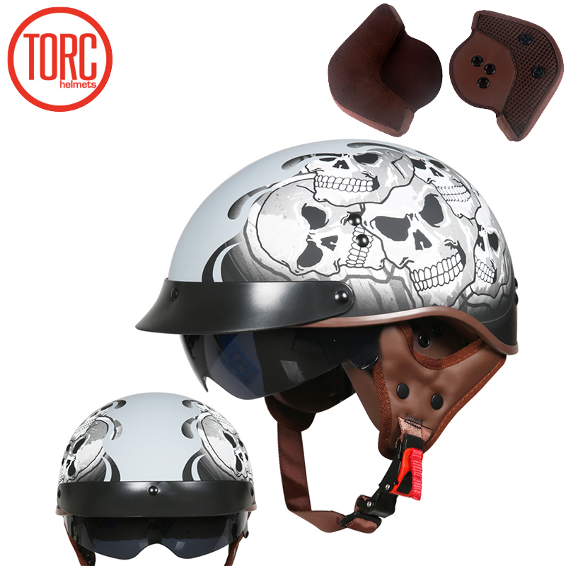 TORC New Arrival Vintage Half Face Motorcycle Helmet Casco Casque Moto Retro Helmets With Inner Sun