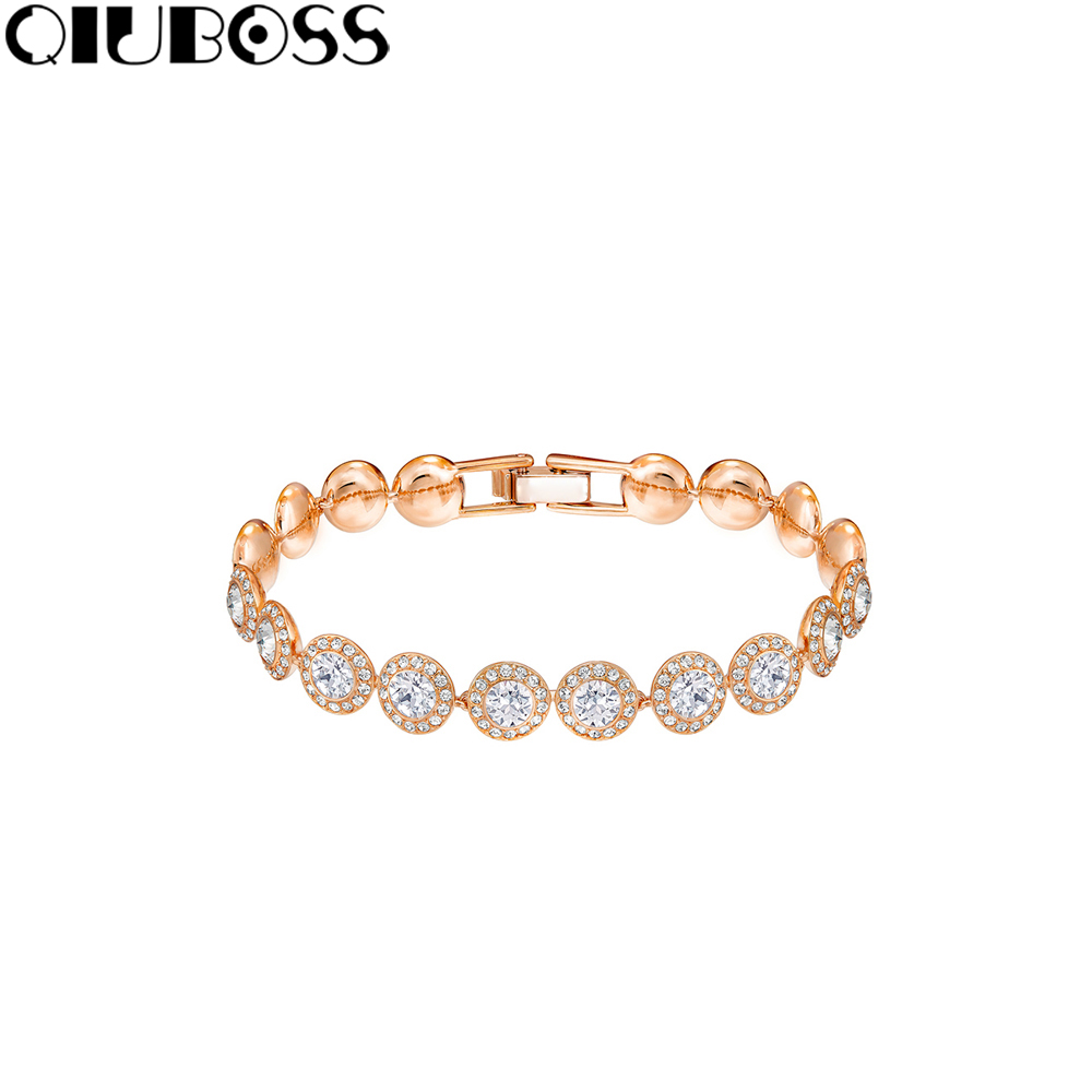 QIUBOSS ANGELIC Bracelet White Plated Rose Gold 5240513 Ms. Birthday Gift Fashion Design Valentine's Day Boy Give Girl Gift yoursfs 18k rose white gold plated letter best mum heart necklace chain best mother s day gift