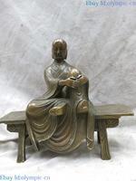 Brass sculpture China carved fine copper buddhism buddha wooden bench Statue