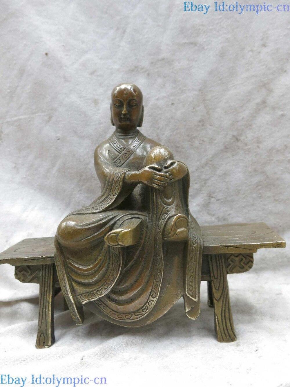 Sculpture en laiton porcelaine sculptée fine cuivre bouddhisme bouddha banc en bois Statue