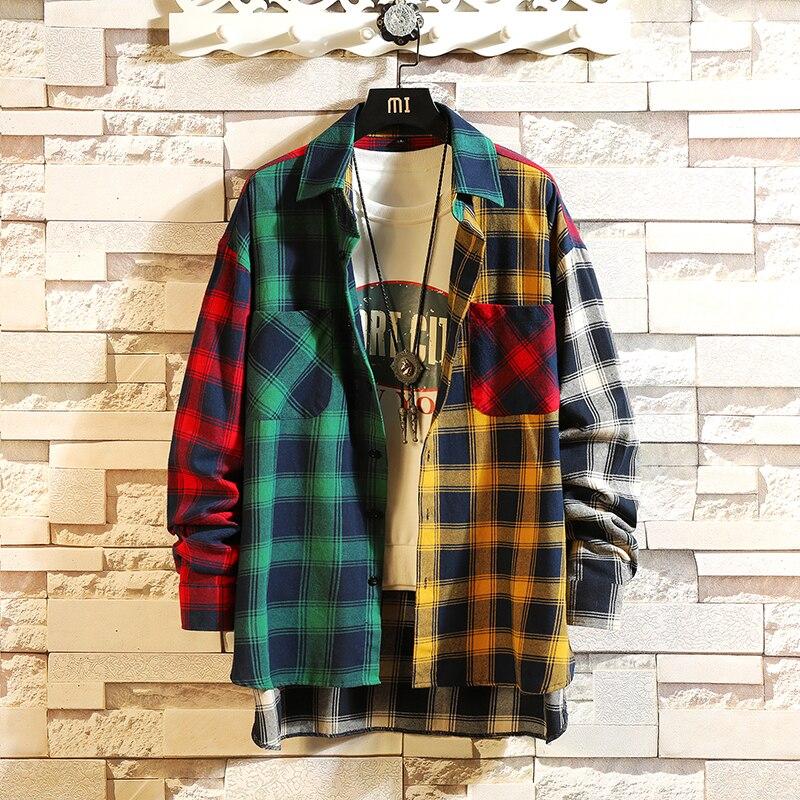 Primavera personalidade versão coreana da tendência da cor combinando xadrez camisa masculina casual hip hop solto camisa de manga comprida 5xl