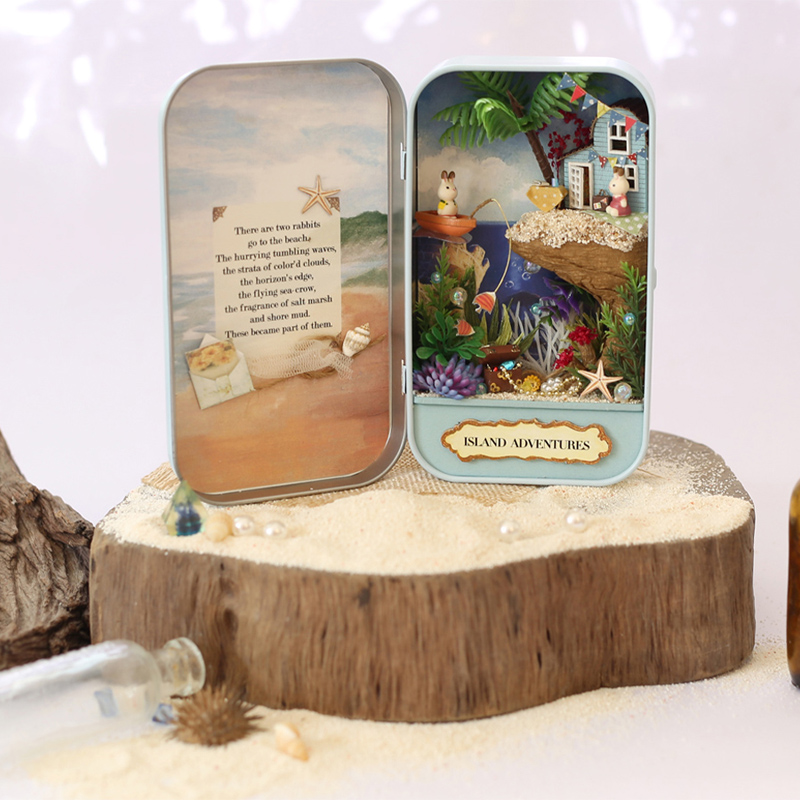 Elegant DIY Doll House Box Theatre Toy Natural Theme Miniature Scenes 3D Wooden Furniture Dollhouse Island Adventures Q002 #D