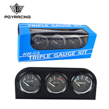 52mm Triple kit Oil Temp Gauge + Water Temp Gauge + Oil Pressure Gauge or Volt meter with Sensor 3in1 Car Meter PQY-TAG01/02/03