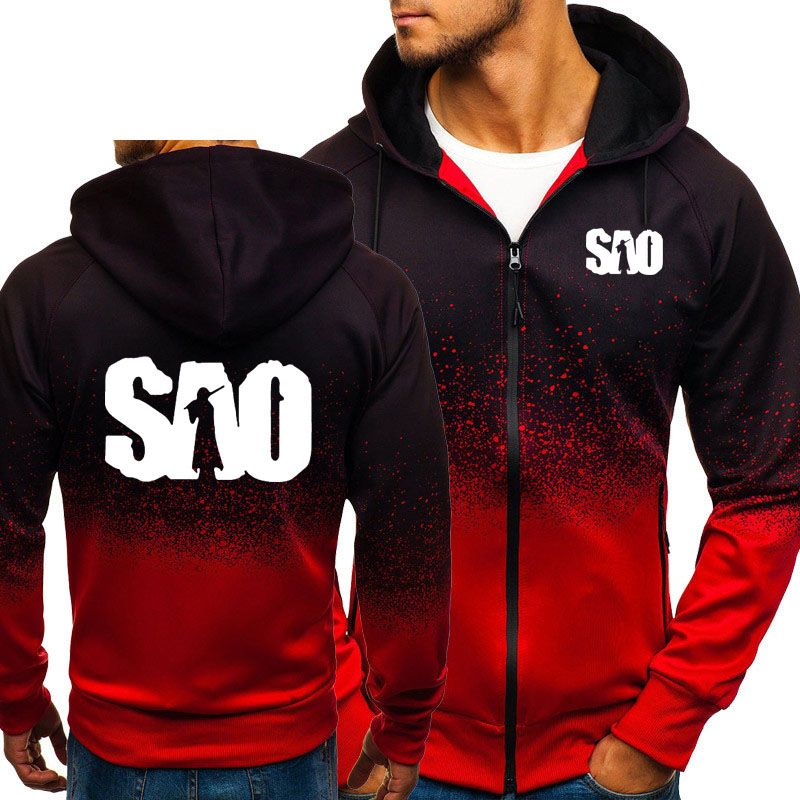SAO Sword Art Online Gradient Hoodies Men Harajuku Hip Hop Sweatshirt Fleece Zipper Jacket Tracksuit Male Casual Sportswear