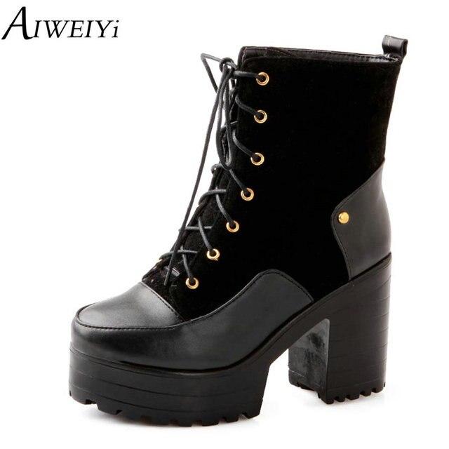 AIWEIYi Kadın Çizmeler Yuvarlak ayak Lace Up Bayanlar Çizmeler Siyah Sarı Kırmızı Sonbahar Kış Sıcak Tutmak yarım çizmeler Kısa Botas Ayakkabı kadın