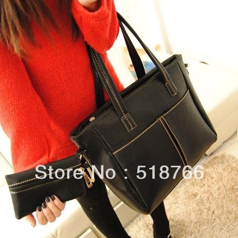 Free Shipping Fashion Vintage OL Leather Shoulder Bag Tote 2013 New Women Designer Commuter Bag Handbag Wholesale/Retail