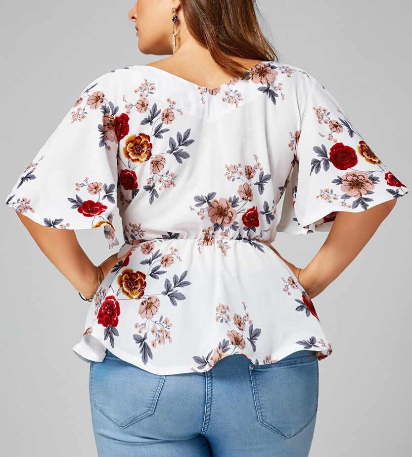 夏の女性のブラウスプラスサイズセクシーな V ネック花柄フレアホワイトロングスリーブベルト冥衣ペプラムトップスやブラウス Blusas feminina T