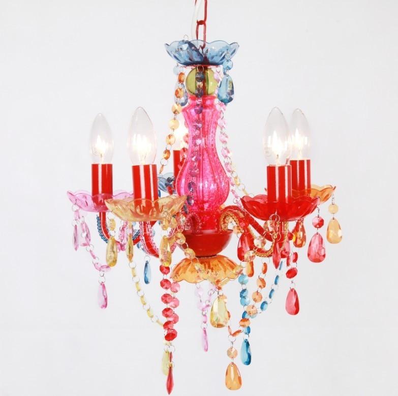 Modern Fashion Multicolor Pink Chandelier Kids Lighting For Bedroom Pendant Children Lamp Kids Room Lights