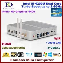 DHL free Fanless HTPC core i5-4200U dual core barebone pc mini computer 4*USB 3.0 ports HDMI, 4K HD TV BOX,WIFI