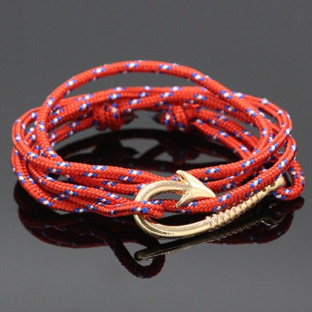 Multilayer Spiral Pattern Hook Gold Fish Hooks Bracelets Colorful Nautical Rope Bracelet For Women Men Friendship Yg015