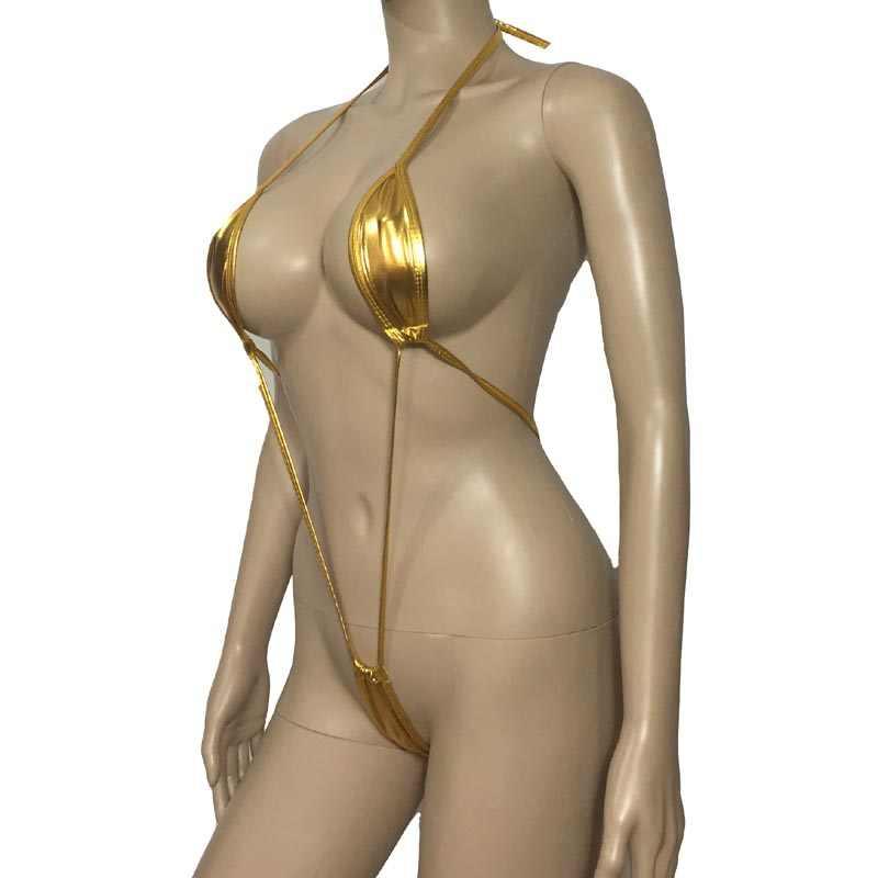 女性ホットセクシーなランジェリーパチンコメタリック光沢のあるワンピースモノキニマイクロひも G ストリング伸縮性ビキニ下着