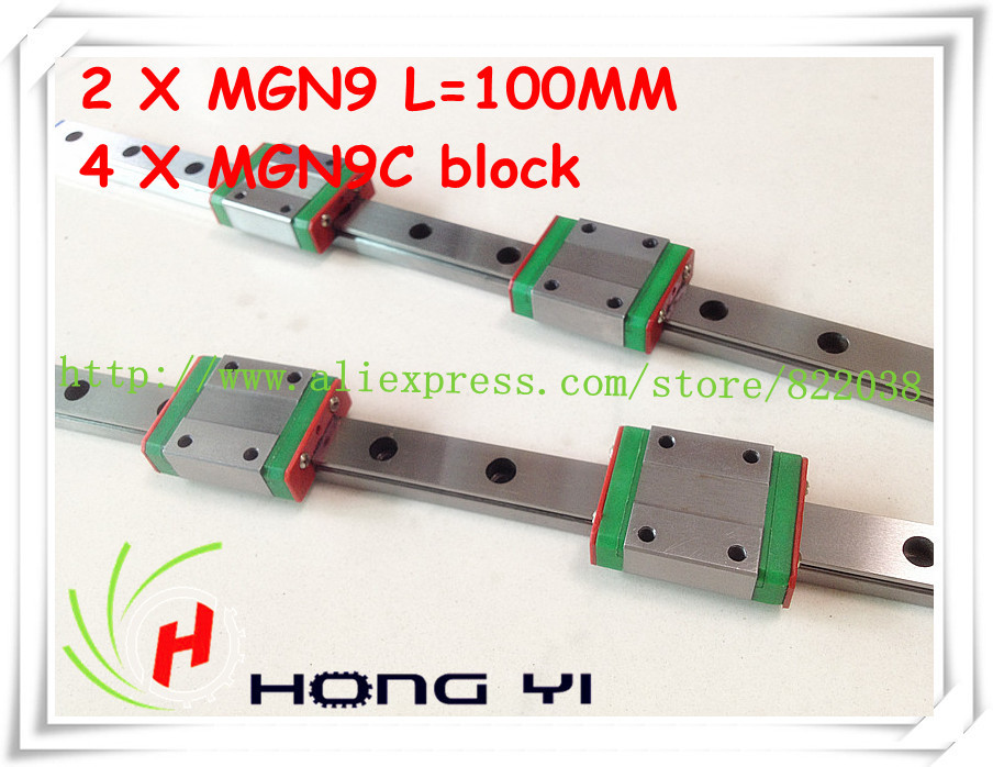 Square linear guide 2 X MGN9 L=100mm with 4pcs MGN9C linear blocks(can be cut any length) new square linear guide 2 x mgn12 l 300mm with 4pcs mgn12c linear blocks can be cut any length