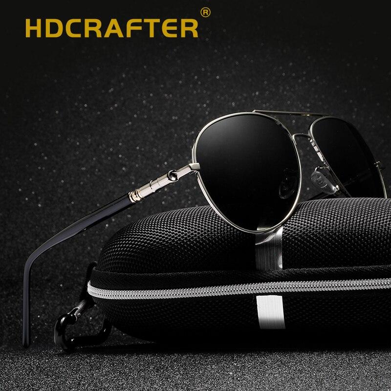 HDCRAFTER 2018 pilot sunglasses men polarized uv400 high quality driving sunglasses polarized man retro vintage sun glasses
