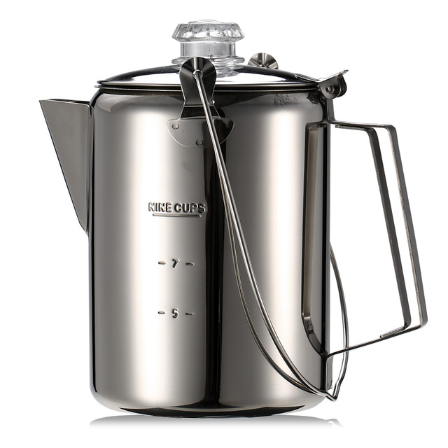 Stainless Steel 9 Cup Coffee Maker Coffee Pot Teapot Outdoor Camping Tableware Percolator Coffee Pot for Home Kitchen Cooking