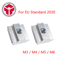 100Pcs Sliding Nut Block Square Nuts M3 M4 M5 M6 For 2020 Aluminum Profile Slot Zinc