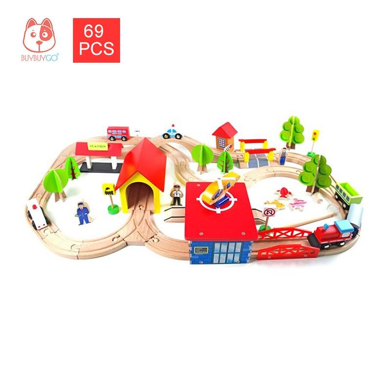 Wood Series KIDS FUN RAILWAY Blocks 69PCS Wooden Train & Railway Set Small Train Track Scene Splice Parking Lot Educational Toys