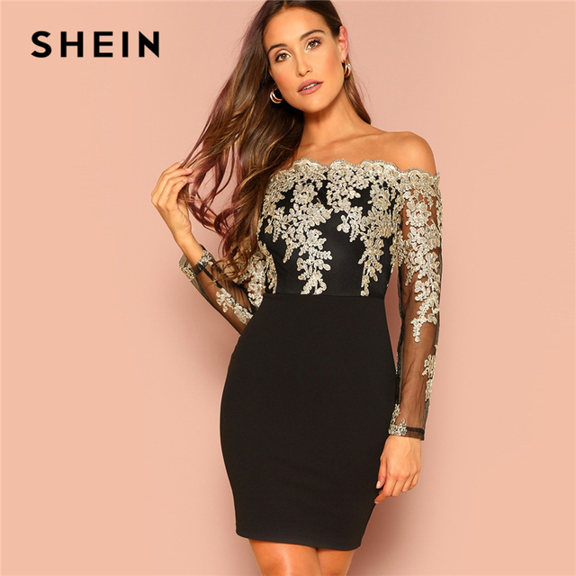 df9fdc009fd0 SHEIN Black Sexy Off the Shoulder Embroidered Mesh Bodice Bardot Bodycon Dress  Women Long Sleeve Summer Going Out Party Dresses