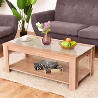 Giantex Coffee Table Rectangle Tempered Glass Top With Storage Shelf Modern Wood Console Desks Living Room