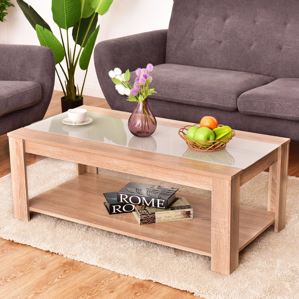 Giantex Coffee Table Rectangle Tempered Glass Top with Storage Shelf Modern Wood Console Desks Living Room Furniture HW55396 small tea coffee table redwood living room furniture rectangle wooden low desks home console stand new classical chinese antique