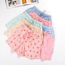 Новинка; летние хлопковые шорты с двойной сеткой; милые повседневные домашние штаны с принтом; Пижамные шорты для отдыха; нижнее Белье для сна
